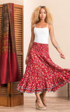 Macarena Skirt, Long, Wildflower Red