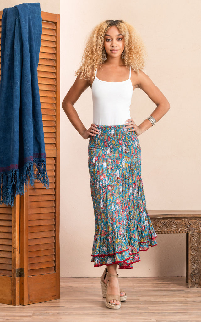 Macarena Skirt, Long, Turquoise Coquette