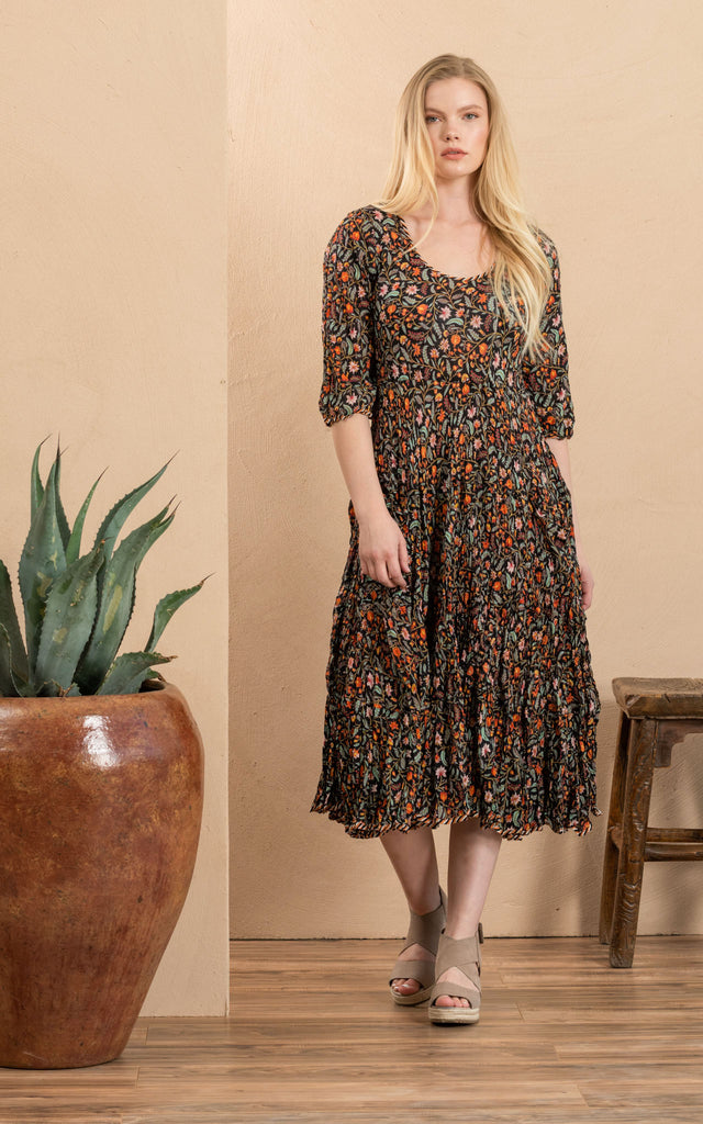 Santa Fe Dress, Long, 3/4 Sleeve, Annabelle Multi