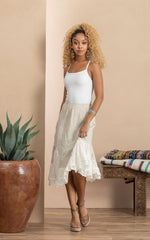 Bella Skirt, Short, Natural Linen Patchwork