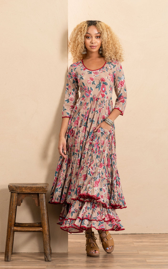 Santa Fe Dress, Long, 3/4 Sleeve, Desert Bloom