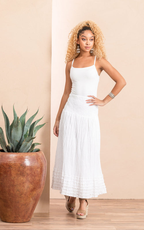 Victorian Skirt, Long, Solid White