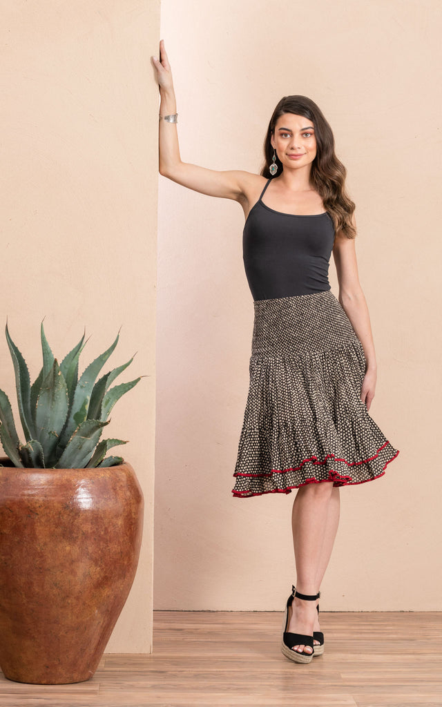 Macarena Skirt, Mini, Black Dot