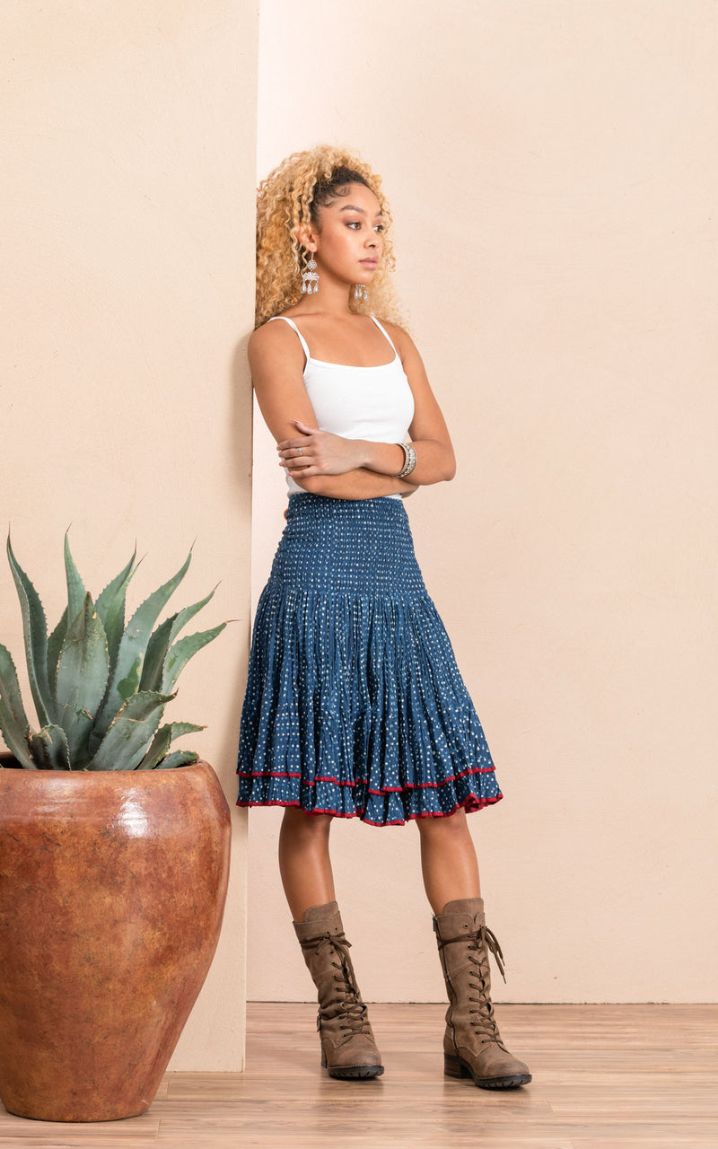 Macarena Skirt, Mini, Indigo Dot