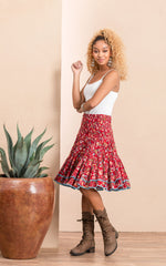 Macarena Skirt, Mini, Wildflower Red