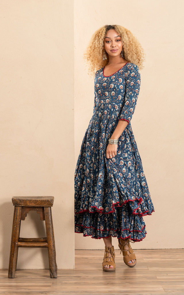 Santa fe Dress, Long, 3/4 Sleeve, Morning Glory