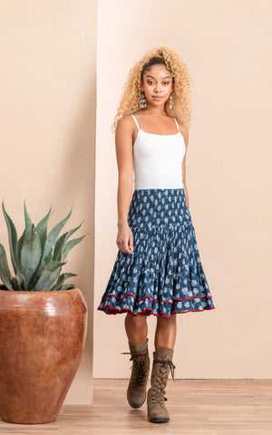 Macarena Skirt, Mini, Indigo Rose, Red Trim