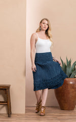 Victorian Skirt, Short, Indigo Dot