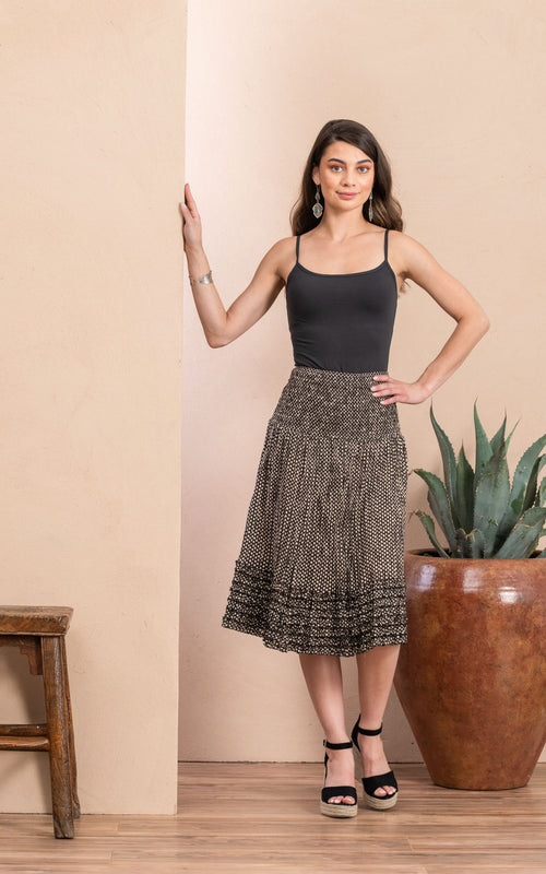 Victorian Skirt, Short, Black Dot
