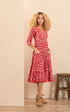 Santa Fe Dress, Long, 3/4 Sleeve, Davina Red