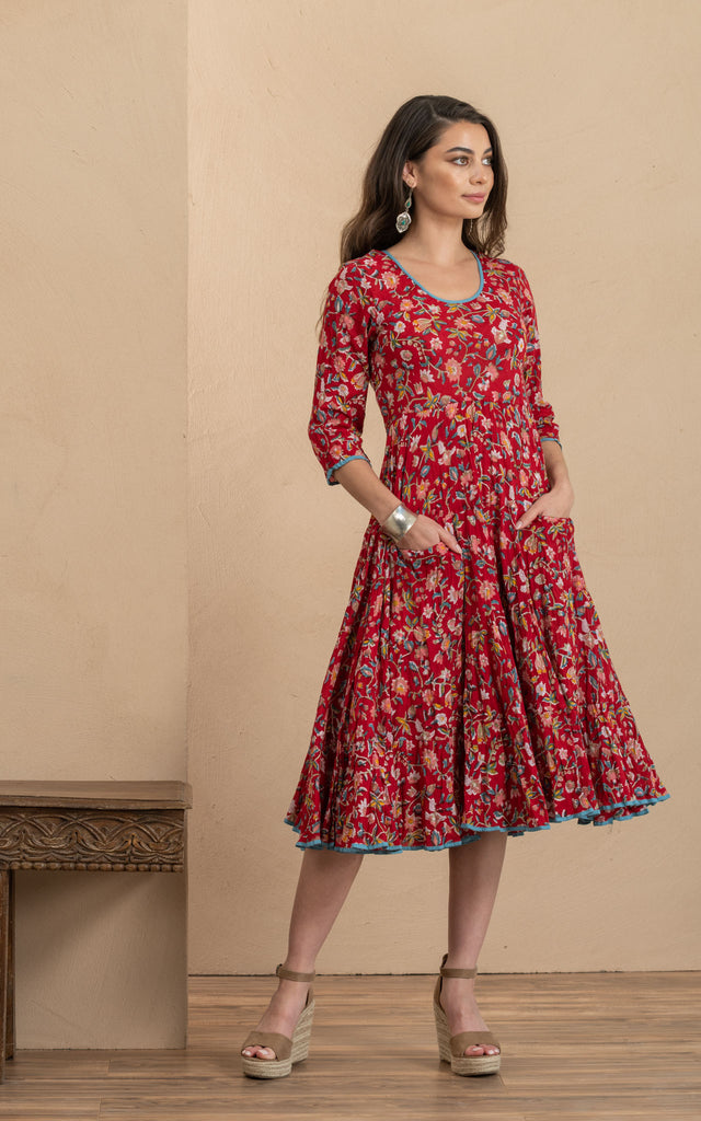 Santa Fe Dress, Long, 3/4 Sleeve, Wildflower Red