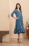 Santa Fe Dress, Long, 3/4 Sleeve, Indigo Rose