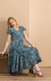 Santa Fe Dress, Long, Cap Sleeve, Indigo Mosaic