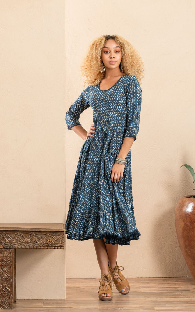 Santa Fe Dress, Long, 3/4 Sleeve, Dot On Dot