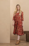 Santa Fe Dress, Long, 3/4 Sleeve, Desert Garden