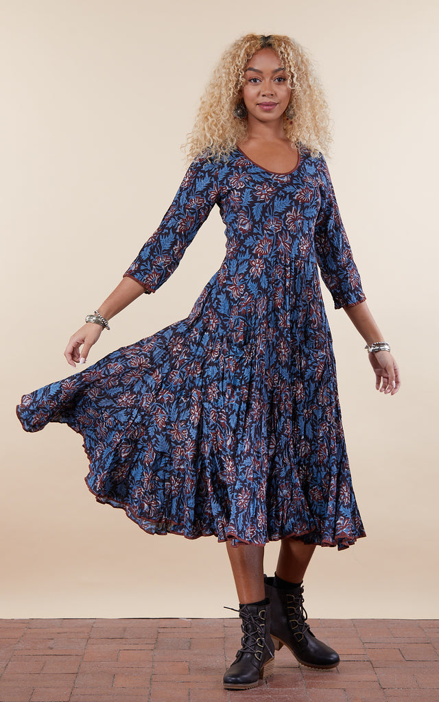Santa Fe Dress, Long, 3/4 Sleeve, Chocolate Flower