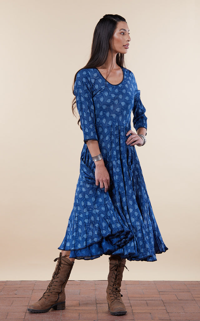 Santa Fe Dress, Long, 3/4 Sleeve, Tula Indigo