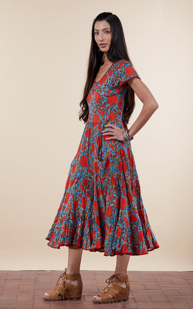 Santa Fe Dress, Long, Cap Sleeve, Turquoise & Orange Rose