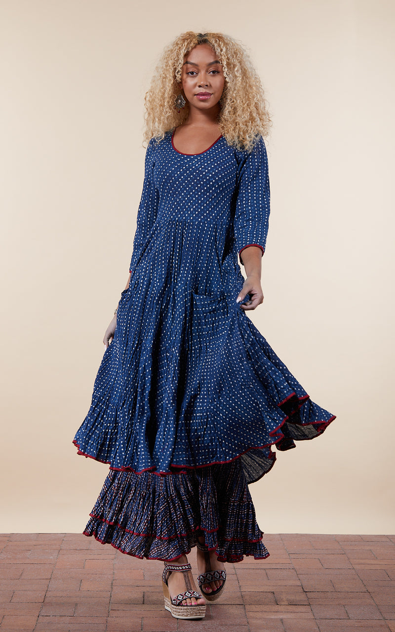 Santa Fe Dress, Long, 3/4 Sleeve, Indigo Dot