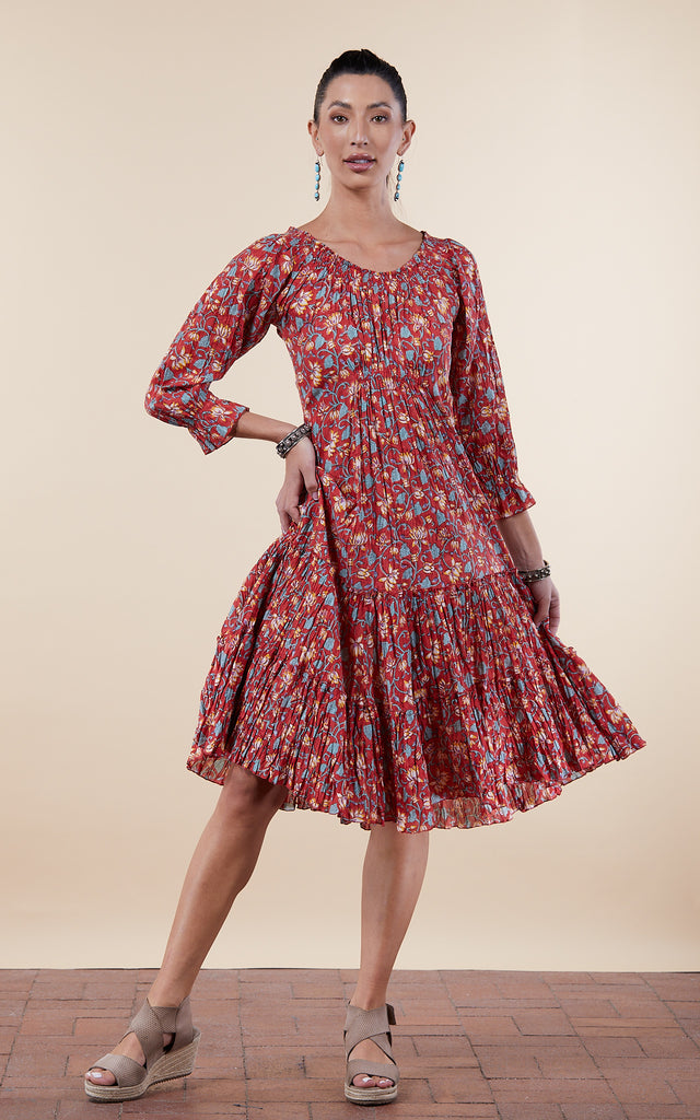 Adelita Dress, Long, 3/4 Sleeve, Tiger Lily