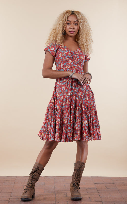 Paloma Dress, Short, Cap Sleeve, Tiger Lily