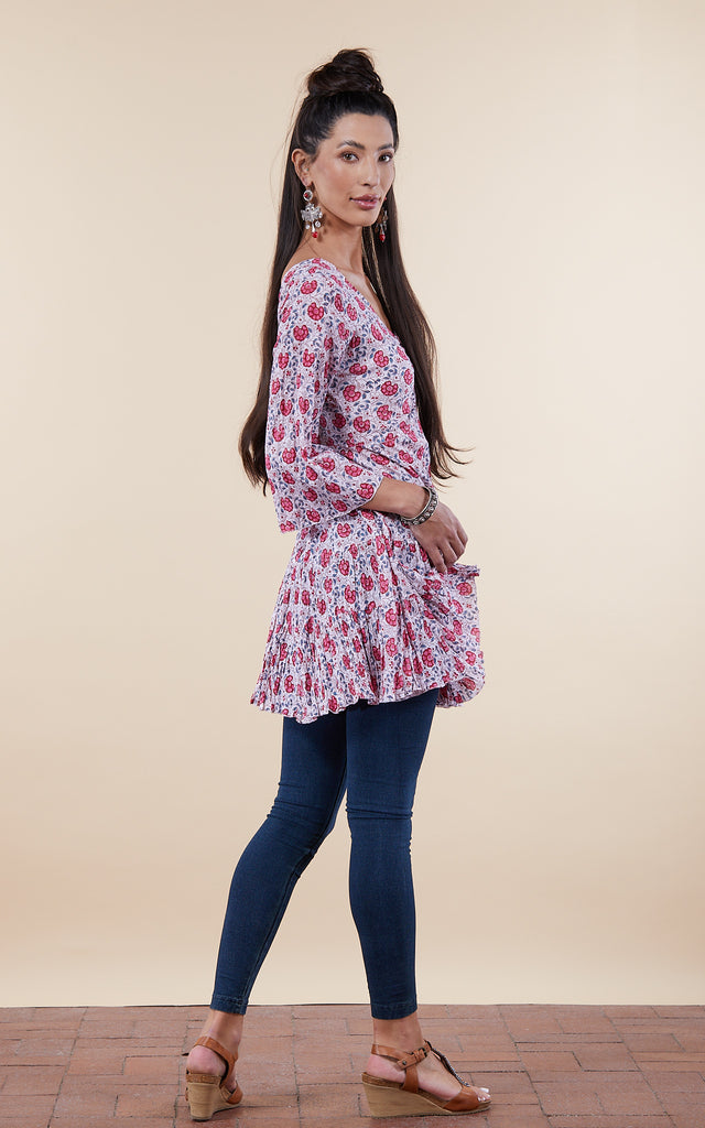 Paloma Tunic, 3/4 Sleeve, Rose Garden