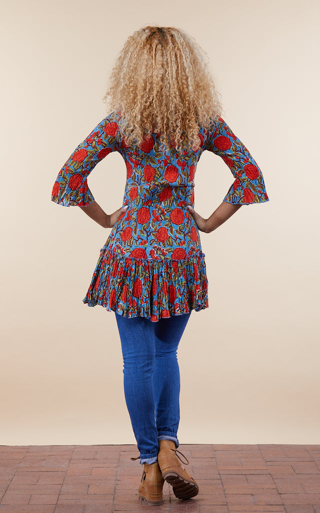 Ximena Tunic, 3/4 Sleeve, Turquoise & Orange Rose