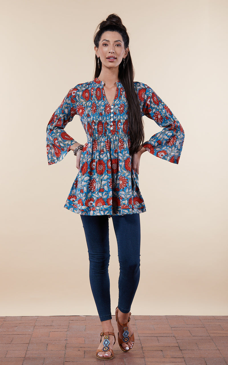 Ofelia Blouse, 3/4 Sleeve, Turquoise & Orange Floral
