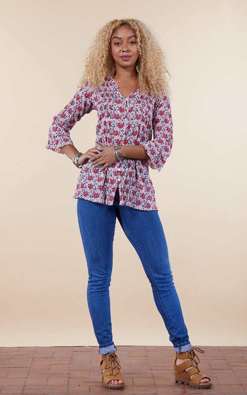 Violeta Blouse, 3/4 Sleeve, Rose Garden