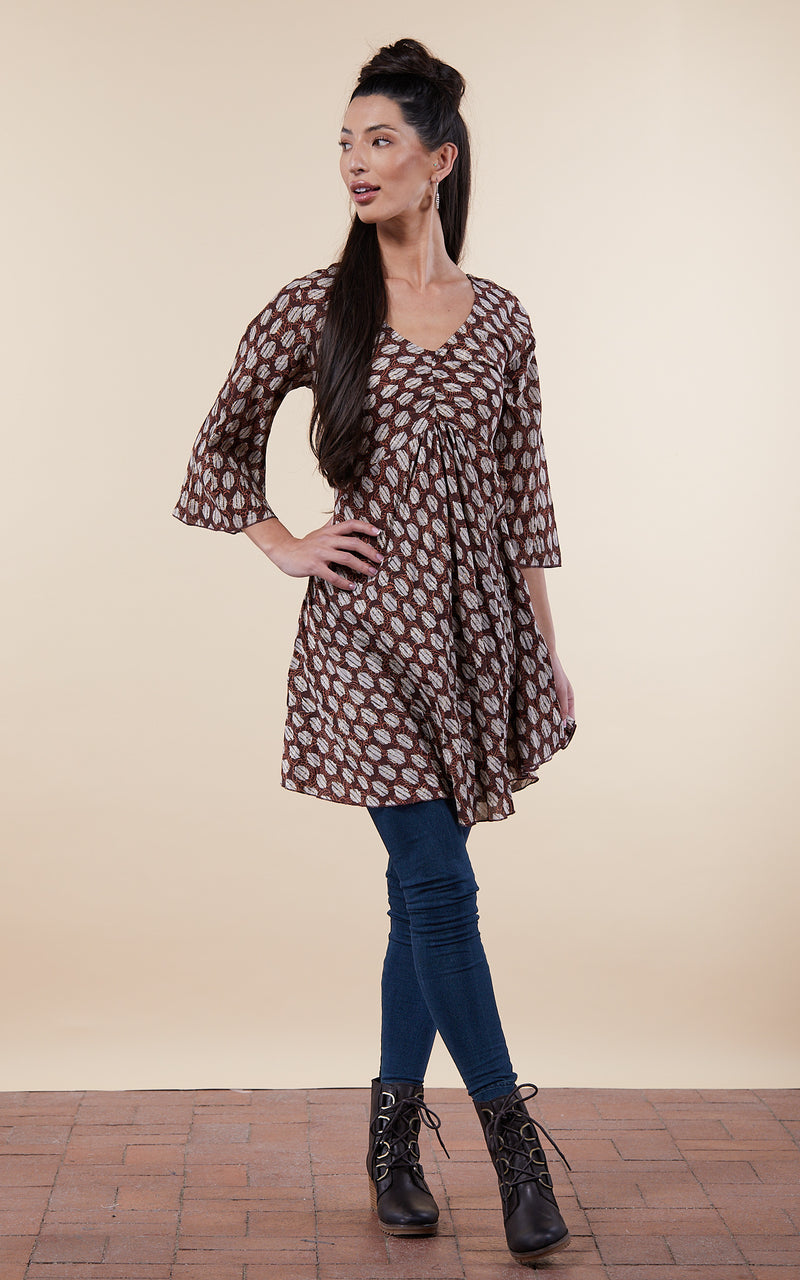 Kika Tunic, 3/4 Sleeve, Earth Angel