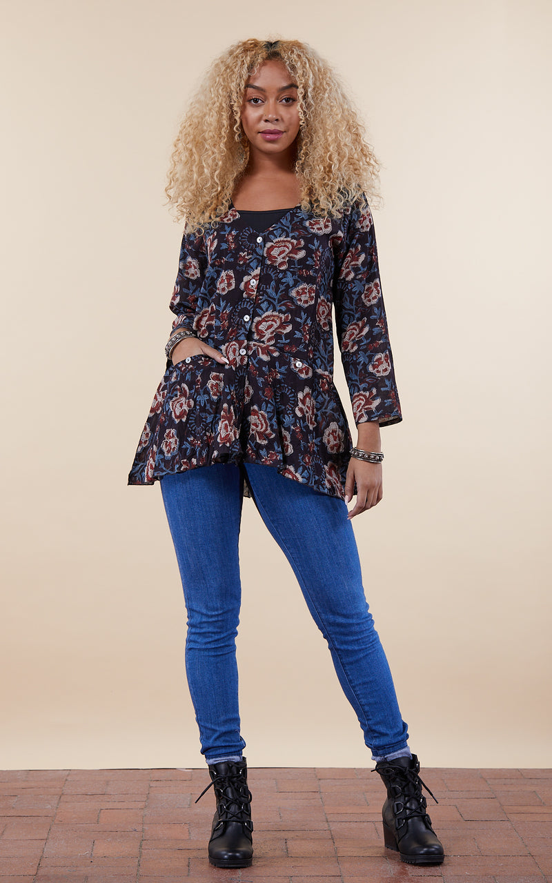 Rio Jacket, Long Sleeve, Midnight Floral