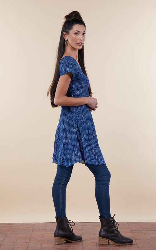 Kika Tunic, Cap Sleeve, Indigo Mini Dot