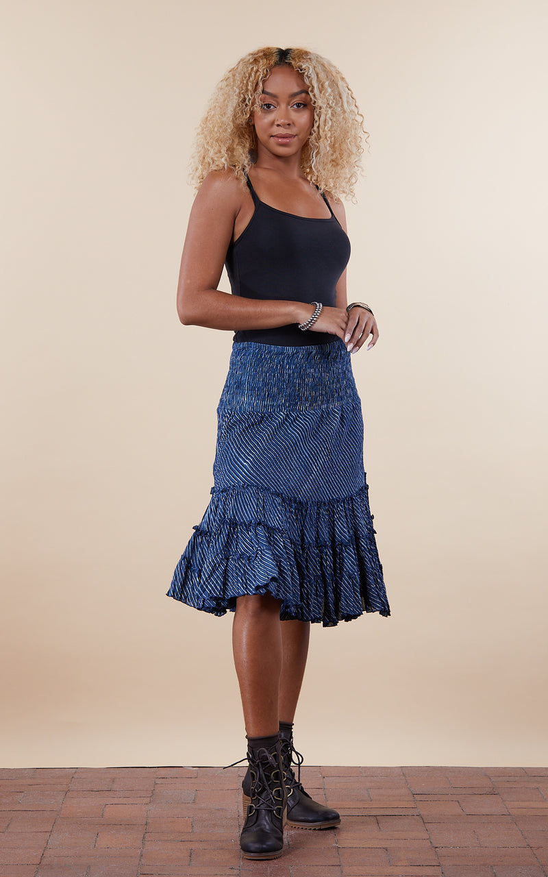 Lola Skirt, Mini, Indigo Stripe