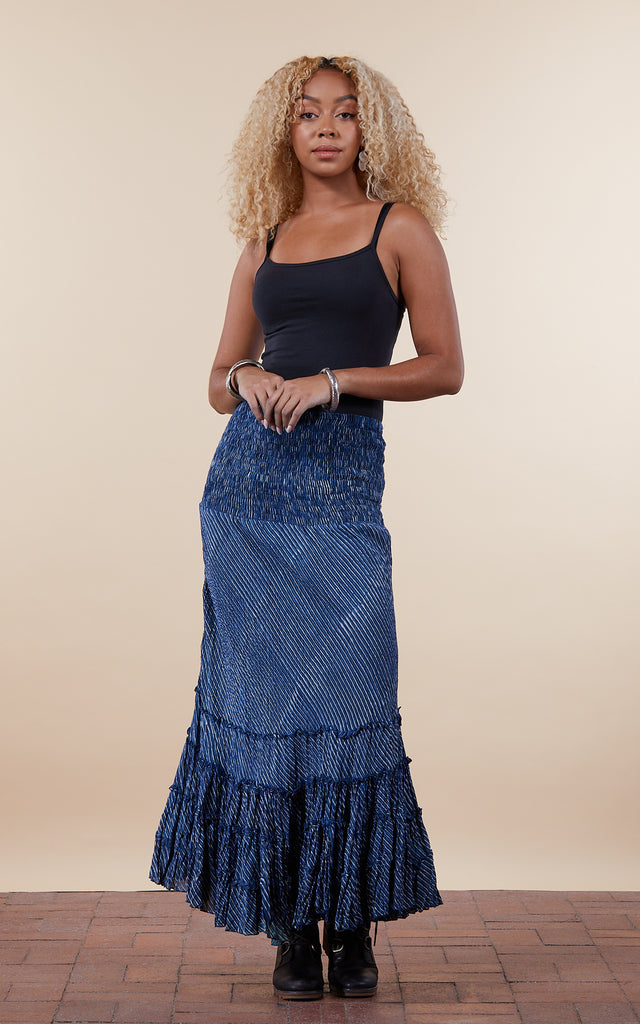Lola Skirt, Long, Indigo Stripe
