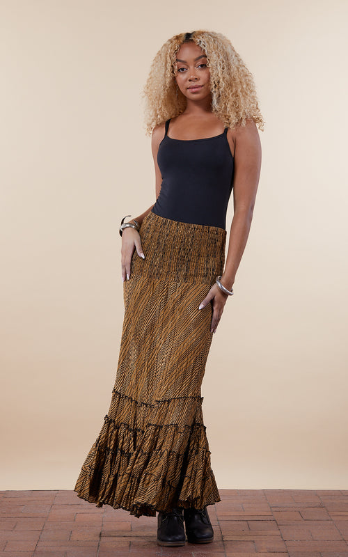 Lola Skirt, Long, Curry Stripe
