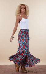 Lola Skirt, Long, Turquoise & Orange Floral