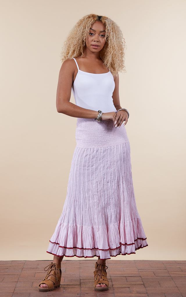 Macarena Skirt, Long, Pink Stripe