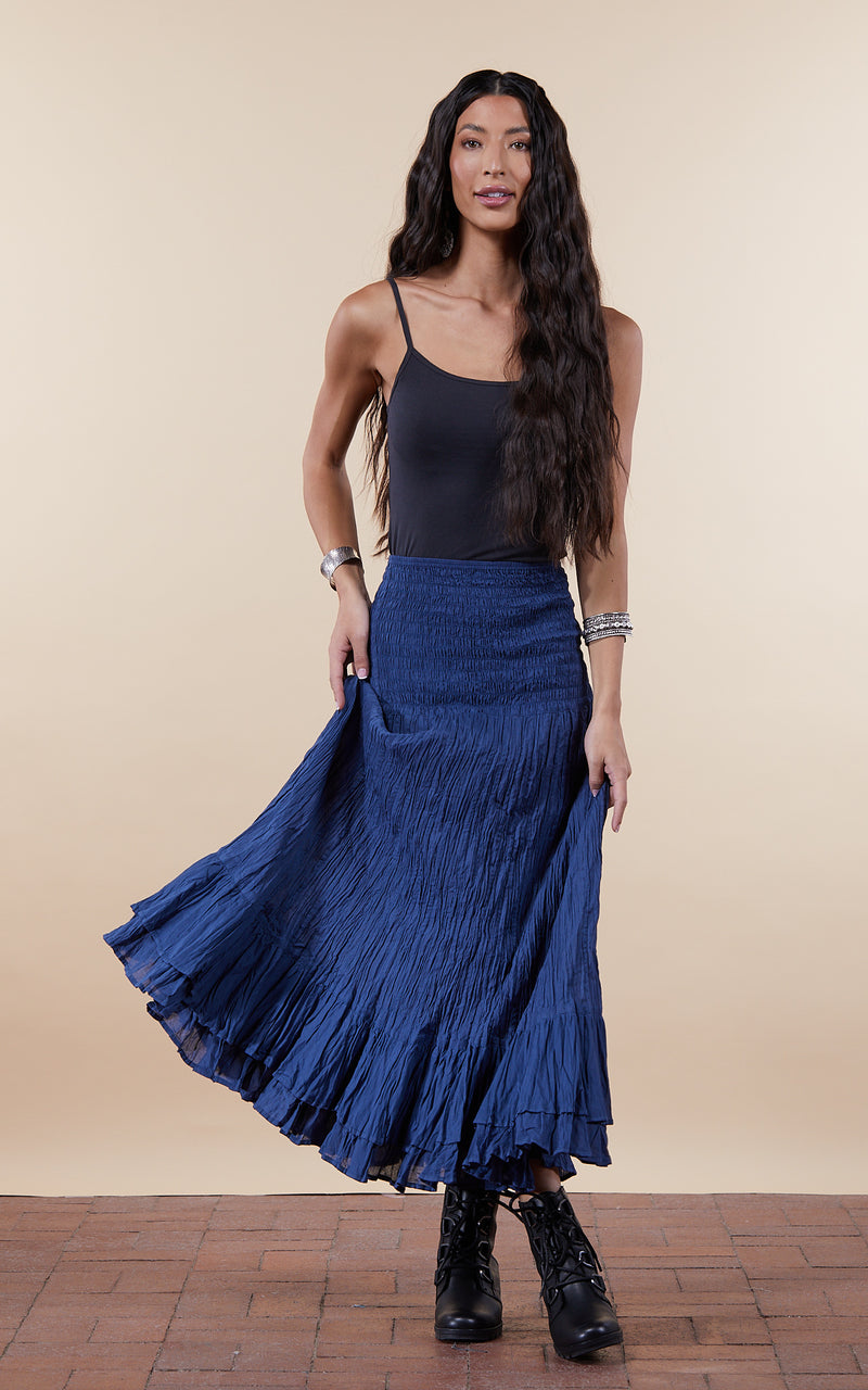 Macarena Skirt, Long, Solid Indigo