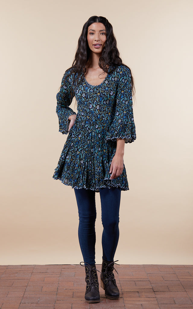 Nomad Blouse, 3/4 Sleeve, Annabelle Blue