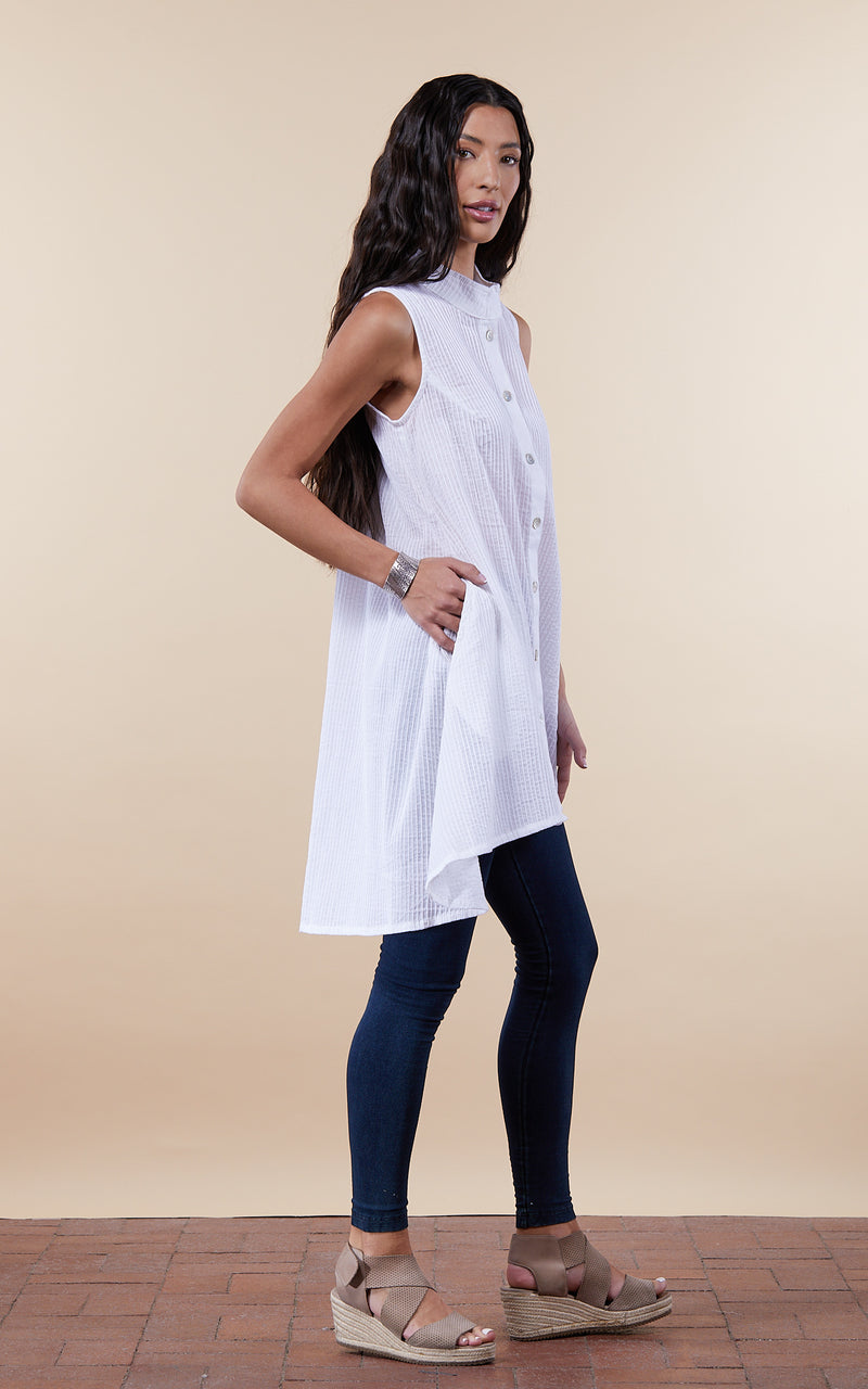Pintuck Vest, High Low Hem, White