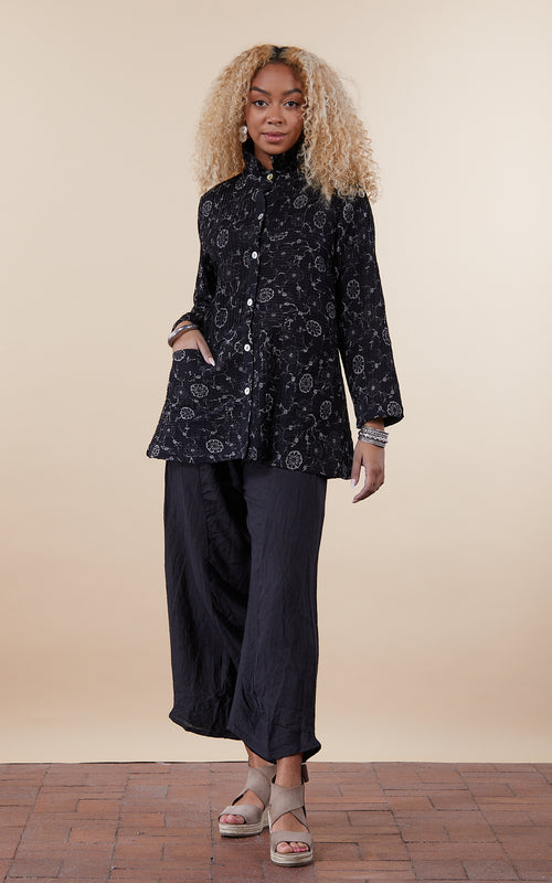 Pintuck Jacket, Mixed Direction, Black & Taupe Floral