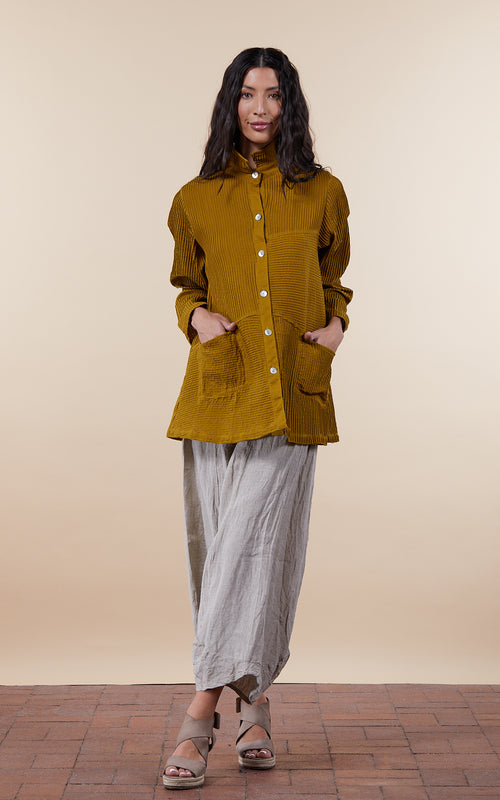 Pintuck Jacket, Mixed Direction, Citron