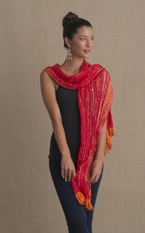 Shibori Scarf, Red & Orange