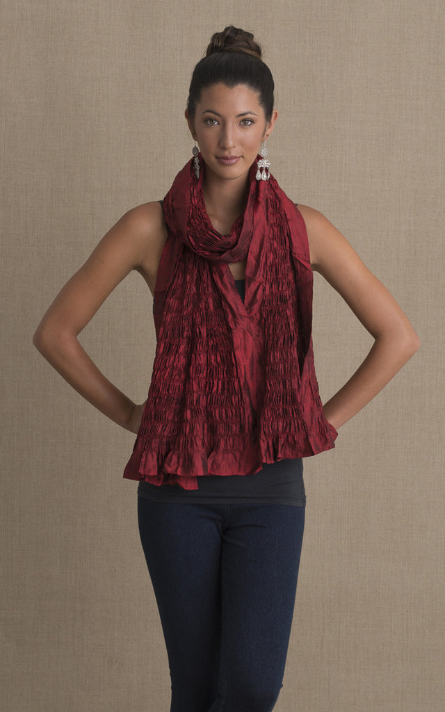 Thai Silk Shawl, Crimson