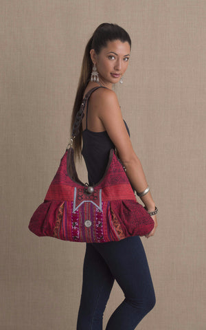Hill Tribe Hobo Bag, Red