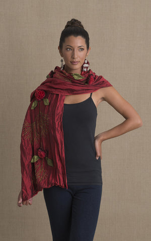 Rose Shawl, Red & Red