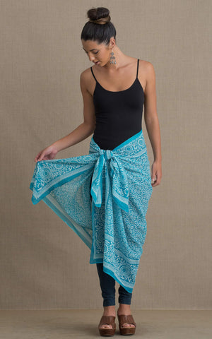 Sarong/Shawl, Turquoise Floral