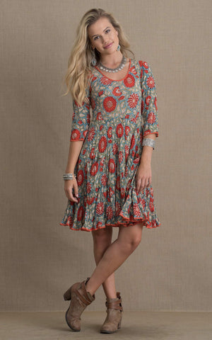 Santa Fe Dress, Short, 3/4 Sleeve, Turquoise & Orange Floral