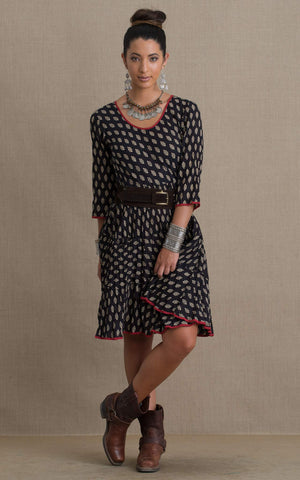 Santa Fe Dress, Short, 3/4 Sleeve, Black Bagru