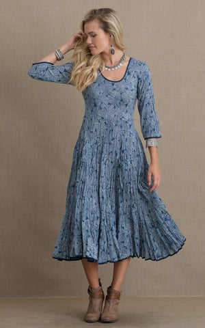 Santa Fe Dress, Long, 3/4 Sleeve, Indigo Zen